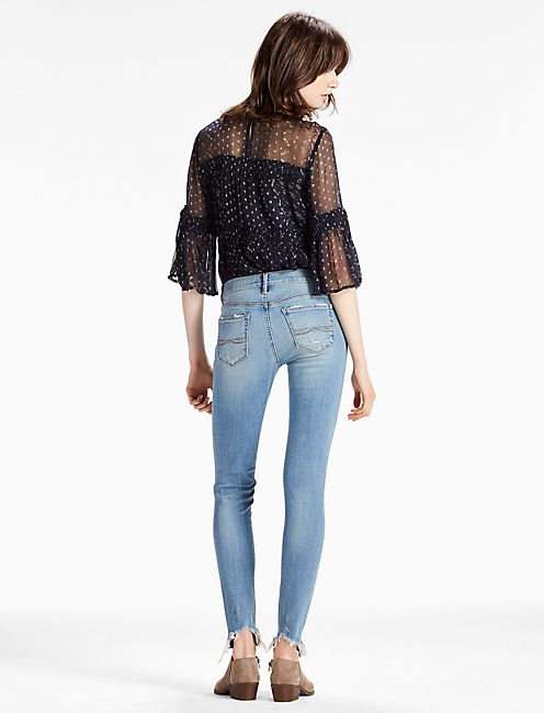 CHARLIE LOW RISE SKINNY JEAN WITH BACK CHEW HEM, CRYSTAL BAY