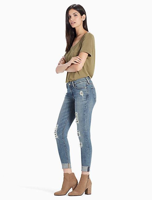 Lucky Sasha Super Skinny Mid Rise Rip & Repair Legging Jean