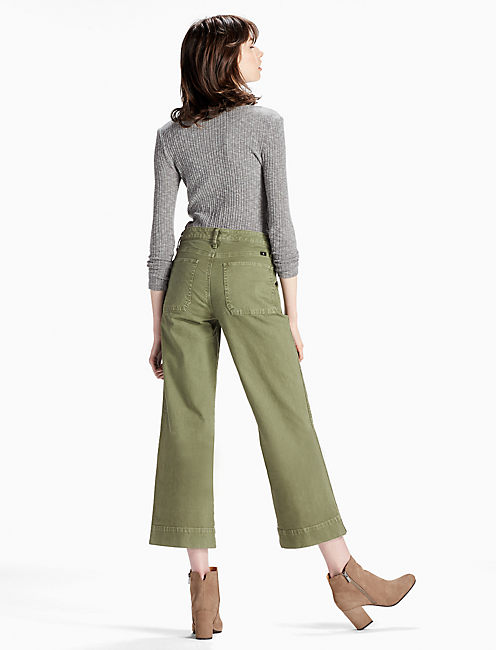 WIDE LEG UTILITY CROP JEAN, ARMY GREEN