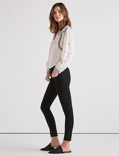 Lucky Stella Low Rise Skinny Jean With Cut Hem