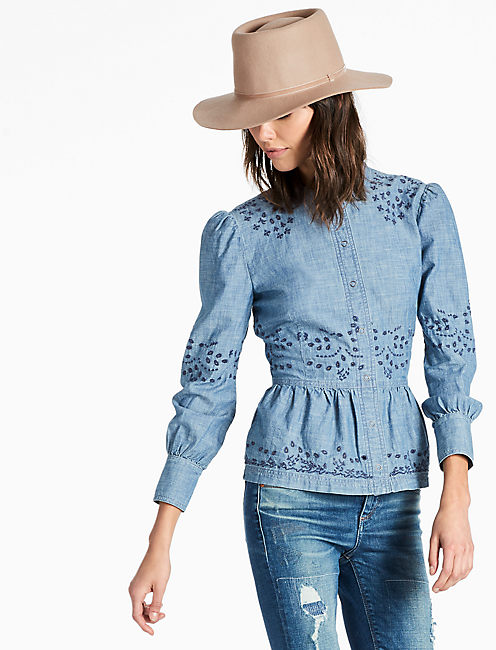 PEPLUM CHAMBRAY SHIRT WITH EMBROIDERED EYELET,