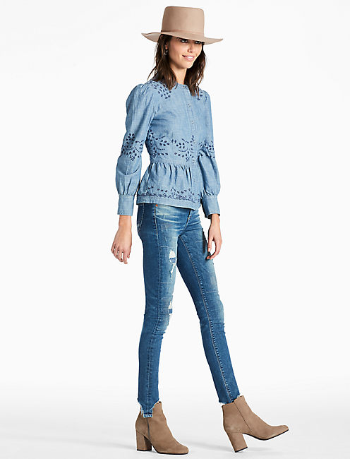 Lucky Peplum Chambray Shirt With Embroidered Eyelet