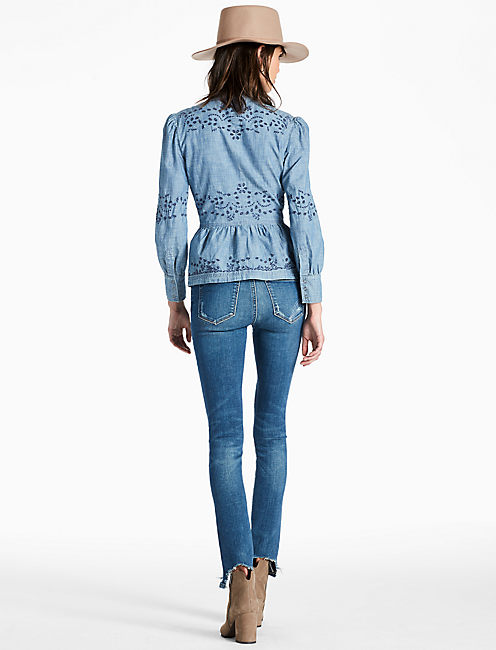 PEPLUM CHAMBRAY SHIRT WITH EMBROIDERED EYELET, ABERNATHY