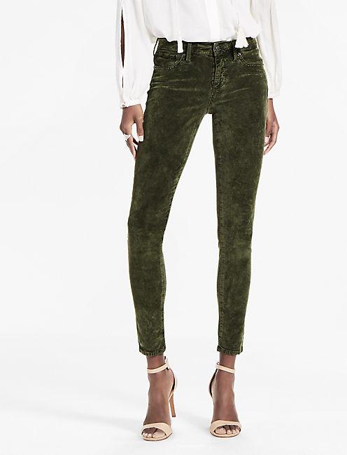 Brooke Legging Jean in Forest Green Velvet,