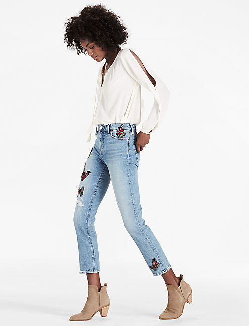 Lucky Bridgette High Rise Slim Straight Jean With Embroidery