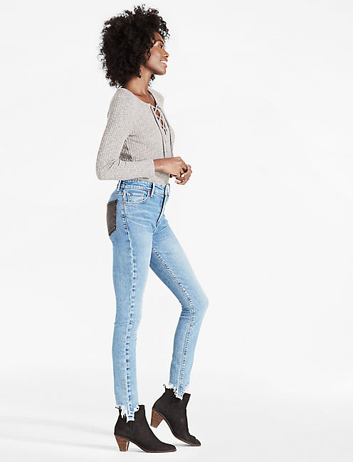 BRIDGETTE HIGH RISE SKINNY JEAN WITH CONTRAST POCKETS, WHITE ROCK