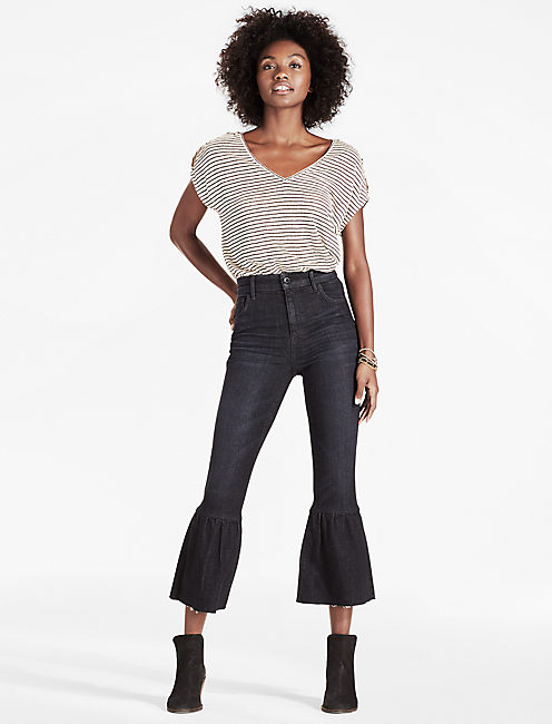 Lucky High Rise Cropped Ruffle Flare Jean