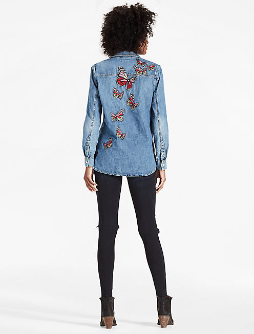 Lucky Denim Boyfriend Shirt With Butterfly Embroidery