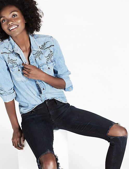 DENIM WESTERN SHIRT WITH VELVET FLOCKING,