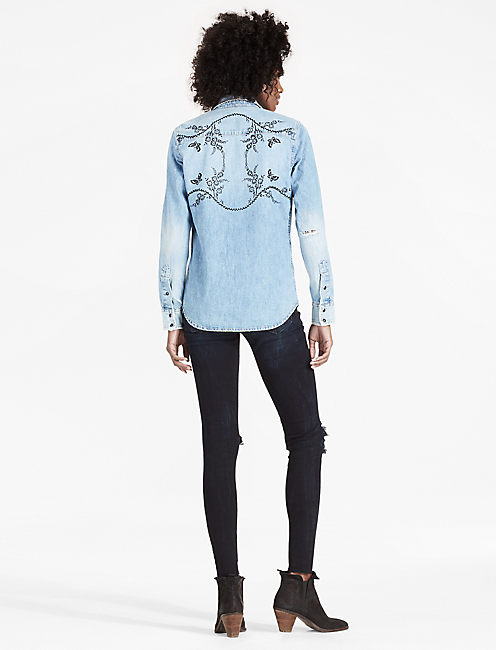 Lucky Denim Western Shirt With Velvet Flocking