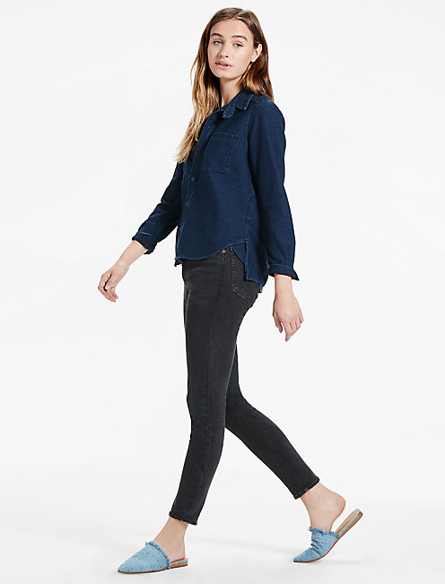 DARK KNIT DENIM SHIRT, BLACK SEA