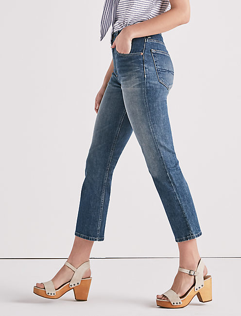 LUCKY PINS HIGH RISE CROPPED BOOT JEAN, LEMON VALLEY