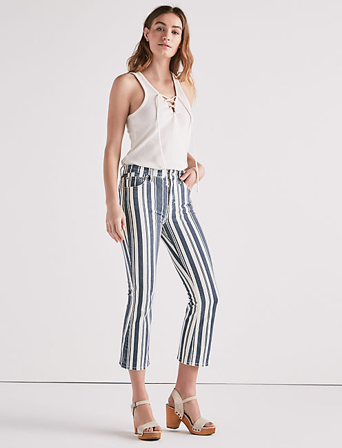Lucky Bridgette High Rise Cropped Boot Jean In Perry Stripe