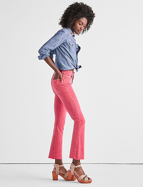 Lucky Bridgette High Rise Mini Boot Jean In Pretty Pink Fray