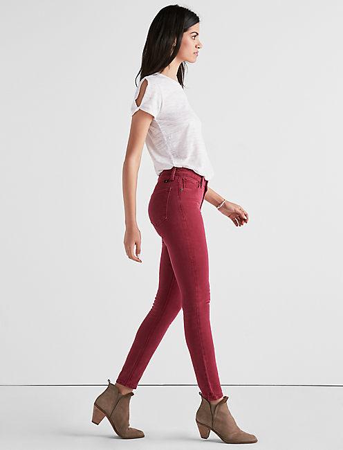 Lucky Sasha Super Skinny Jean In Elegant Burgandy