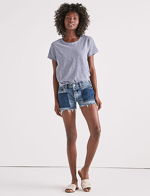 BOYFRIEND DENIM SHORT WITH TIE,