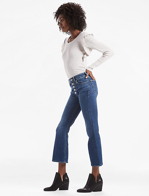 Lucky Bridgette Crop Flare Jean With Exposed Button Fly
