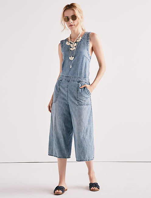 310523593844 Chambray Crossback Culotte Jumpsuit