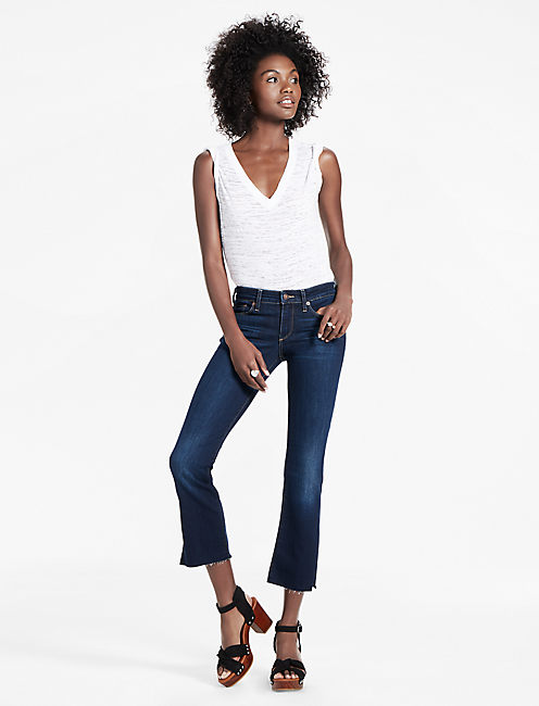 Lucky Sweet Mid Rise Cropped Bootcut Jean With Side Slit
