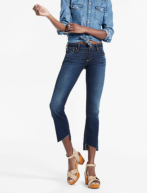 LOLITA MID RISE CROPPED BOOTCUT JEAN WITH ASYMMETRICAL STEP, SAND HILL-STEP