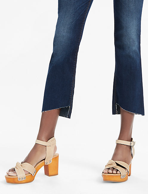 LOLITA MID RISE CROPPED BOOTCUT JEAN WITH ASYMMETRICAL STEP,