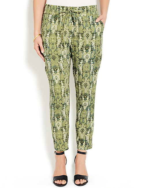 GREEN PRINTED PANT, GREEN MULTI
