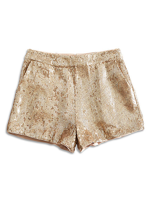 SEQUIN SHORT, NATURAL MULTI