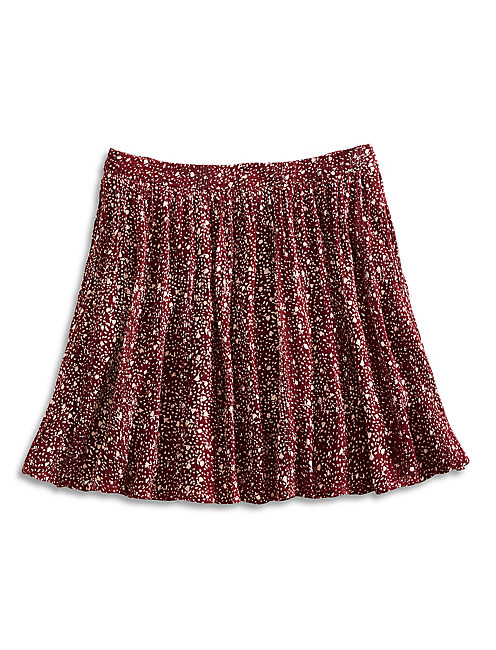 PRINTED MINI SKIRT, RED MULTI