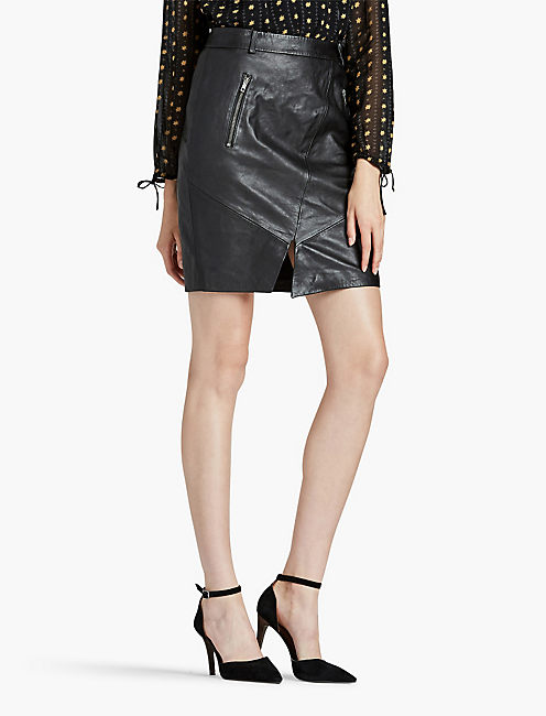 LEATHER PENCIL SKIRT, 001 LUCKY BLACK