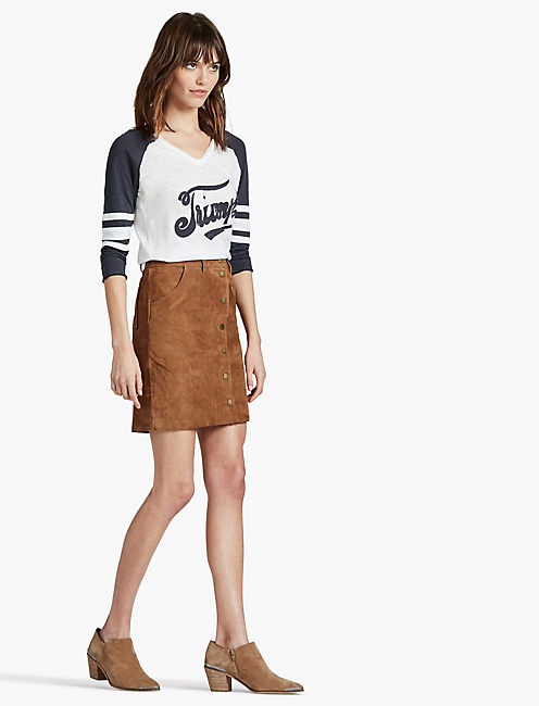 SUEDE SKIRT, TAN