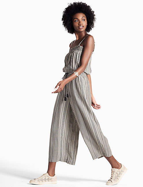 STRIPED CULOTTE ROMPER,