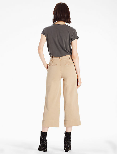 WIDE LEG CROP, KHAKI