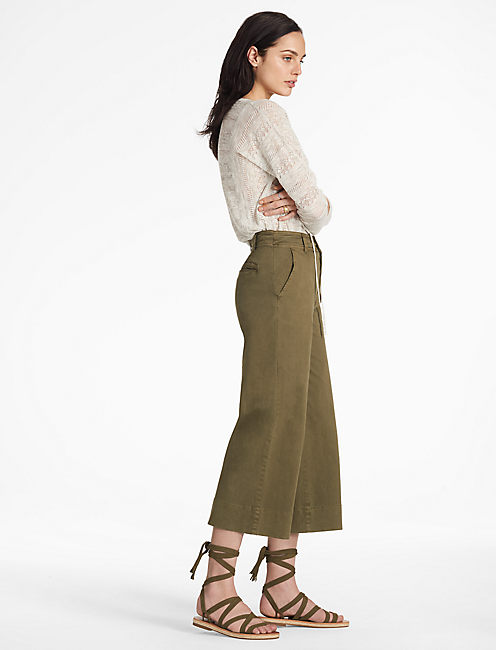 WIDE LEG CROP, DARK OLIVE