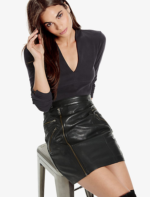 LEATHER MOTO SKIRT, 001 LUCKY BLACK