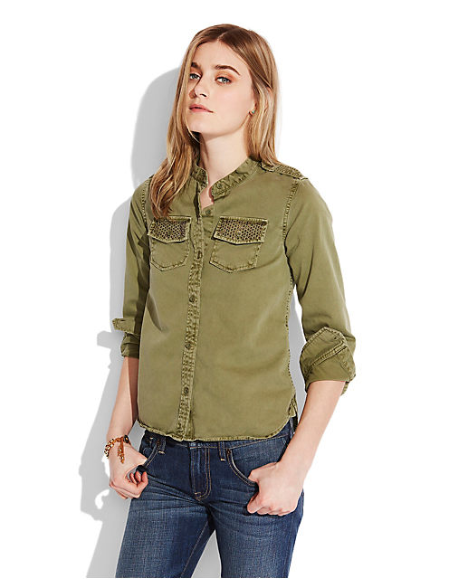 EMBELLISHED SHIRT JACKET, OLIVINE