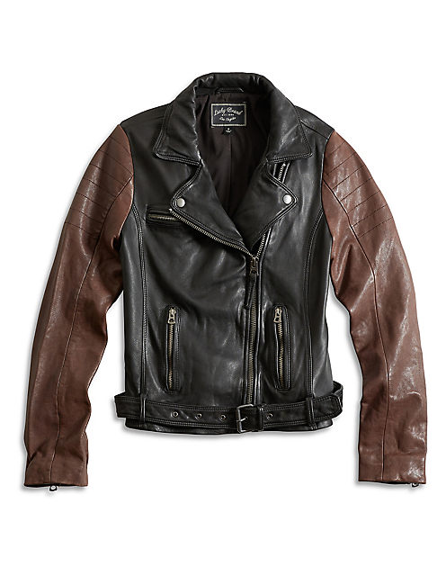 LEATHER MOTO JACKET, BLACK MULTI
