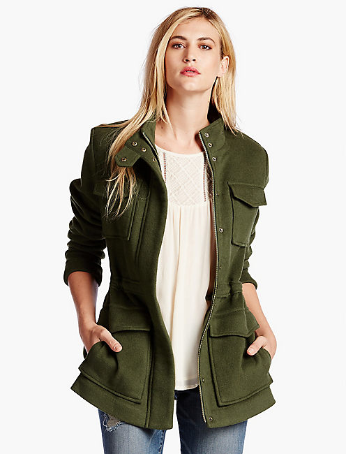 MILITARY WOOL COAT, FELT GREEN