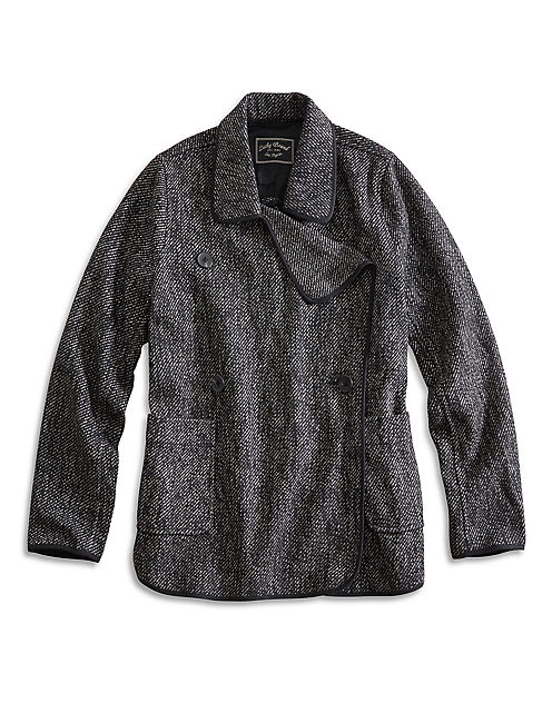 DRAPY FRONT WOOL JACKET, BLACK MULTI