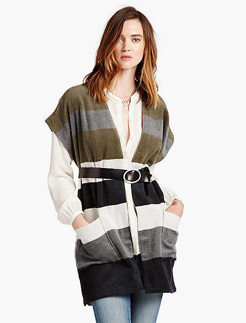 STRIPED WOOL PONCHO,