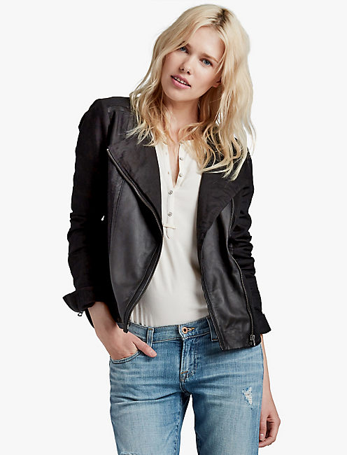 LEATHER MIX MOTO, 001 LUCKY BLACK