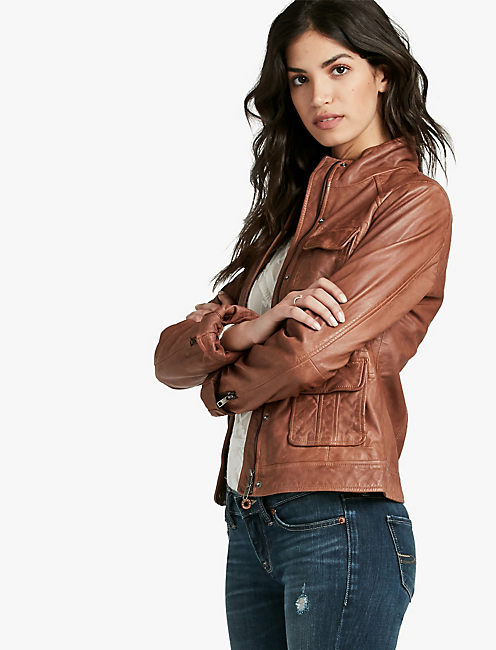 DERBY LEATHER JACKET, CHOCOLATE