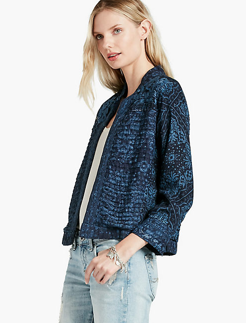 INDIGO PRINTED JACKET,