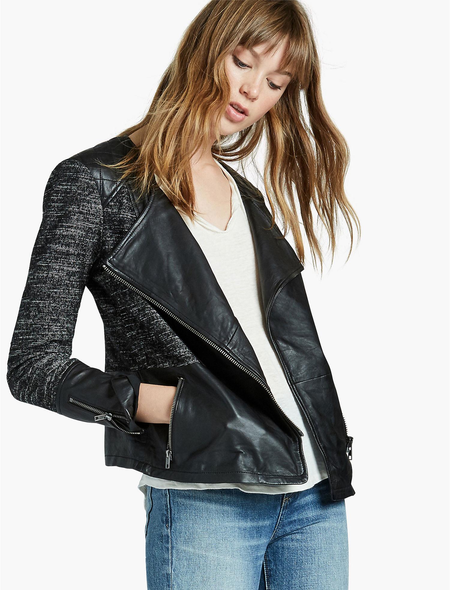 Leather jacket vs motorcycle jacket - Lucky Mixed Media Leather Moto