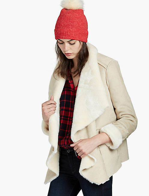 SHEARLING WATERFALL JACKET, #130 NATURAL