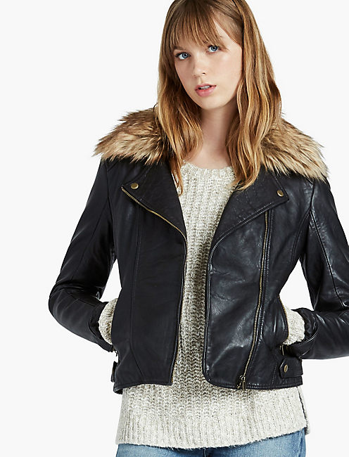 JACKET WITH FUR COLLAR,
