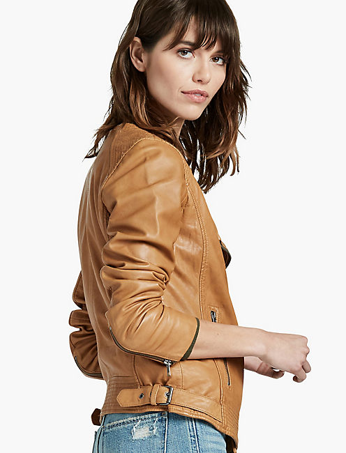 durable service perfect quality uk availability Collarless Leather Jacket | Lucky Brand