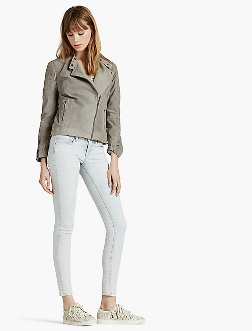 LUCKY QUILTED SUEDE MOTO JACKET