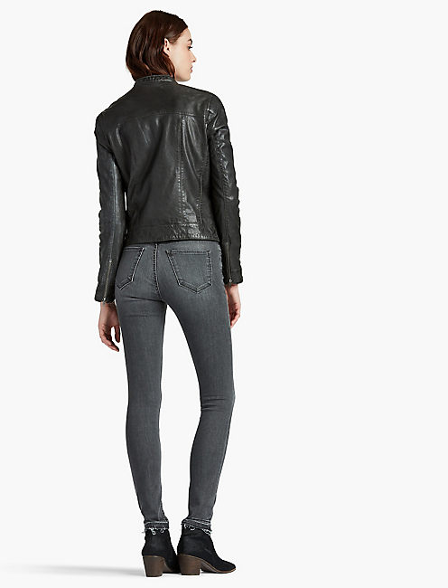 GREY LEATHER JACKET,
