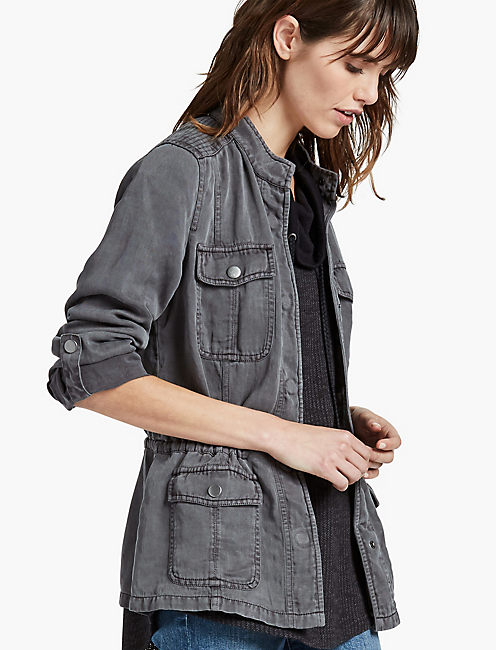 COLLARLESS MILITARY JACKET, WASHED STEEL