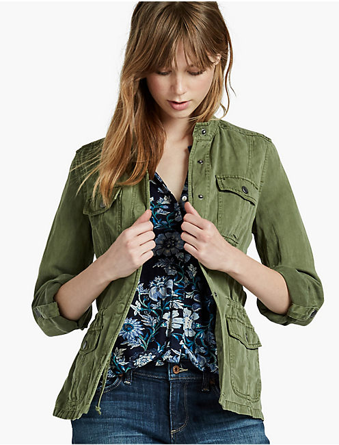 COLLARLESS MILITARY JACKET, SAFARI GREEN